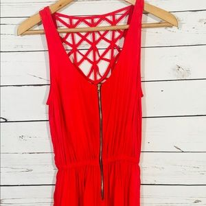 Material Girl Romper Size M Open Back Zipper Front